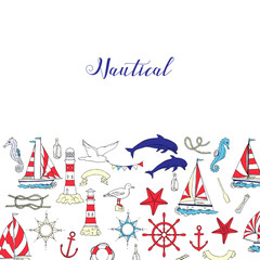 Nautical background with ships