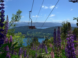 An empty Chairlift on Cerro Campanario in Bariloche in Spring with wild flowers blooming.