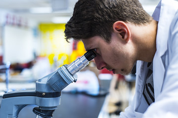 a male researcher working out scientific research in a lab