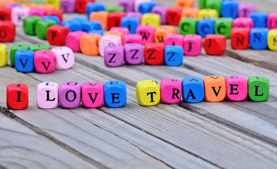 I love travel words on table