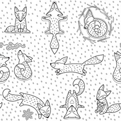 Seamless foxes pattern in outline