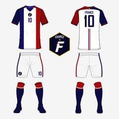 Set of soccer jersey or football kit template for France national football team. Front and back view soccer uniform. Sport shirt mock up. Vector Illustration