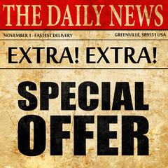 special offer, newspaper article text