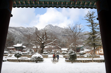 Tranquil temple in the mountain scenery as snow.