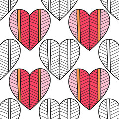 Seamless pattern with decorative hearts for coloring book. Romantic ornament.