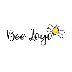 Handdrawn Bee icon with text. Vector illustration.