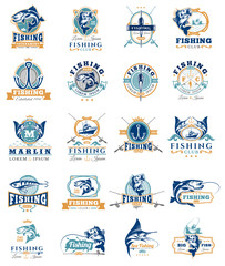 Set of vector badges, stickers on catching fish.