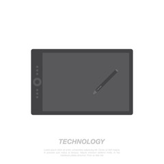 Graphic tablet and stylus on white background. Flat vector illustration EPS 10.