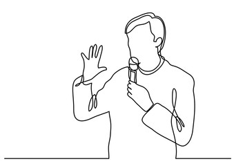 continuous line drawing of presenter speaking with microphone