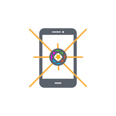 Vector icon or illustration showing mobile internet advertise in outline design style