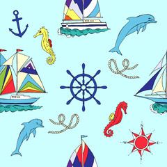 Nautical seamless pattern with ships