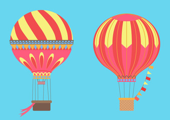Vintage Hot Air Balloons in sky. Vector illustration.