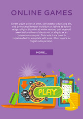 Online Games Concept Flat Style Vector Web Banner