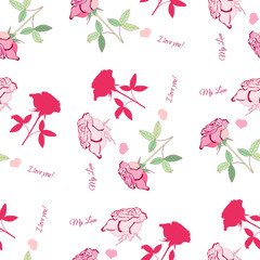 Valentines Day Seamless Pattern with Flowers