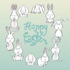 Happy Easter greeting card with bunny. Hand drawn lettering.