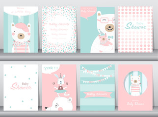 Set of baby shower invitation cards,birthday,poster,template,greeting cards,animals,cute,bears,Vector illustrations