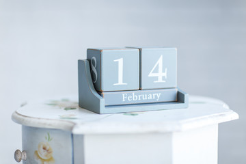 concept of Valentine's day. table calendar with the date 'Februa