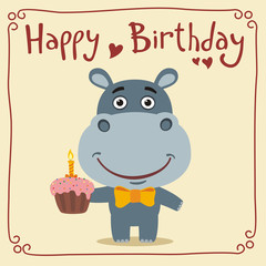Happy birthday! Funny hippo with birthday cake. Greeting card with little hippo in cartoon style.