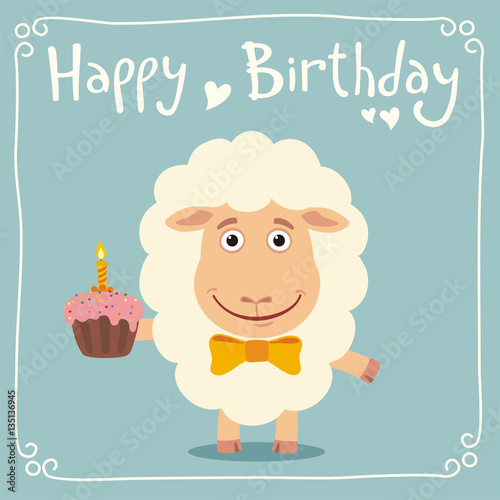 Happy Birthday Funny Sheep With Birthday Cake Greeting Card With