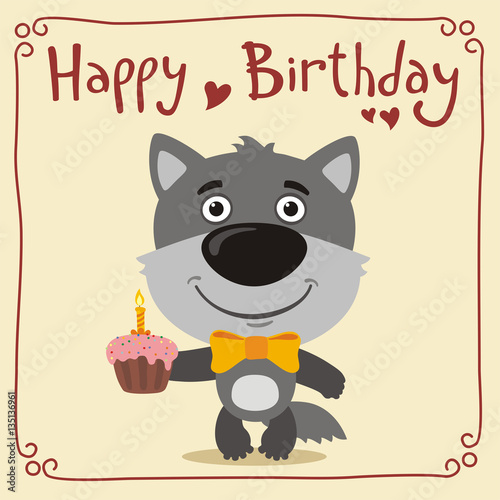 Happy Birthday Funny Wolf With Cake Greeting Card Little In Cartoon