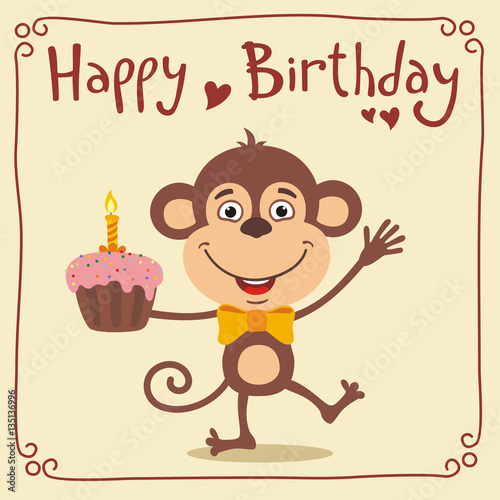 Happy Birthday Funny Monkey With Birthday Cake Greeting Card With