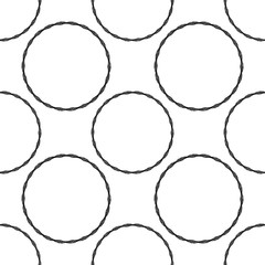 Seamless geometric texture. Black isolated on white. Each element is composed of many parts.