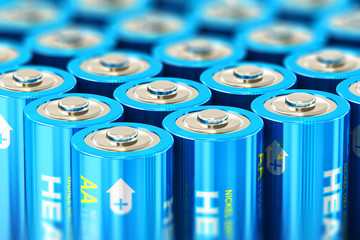 Macro view of the group of blue alkaline AA batteries