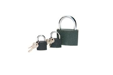 Three locks with keys. Isolated on white.