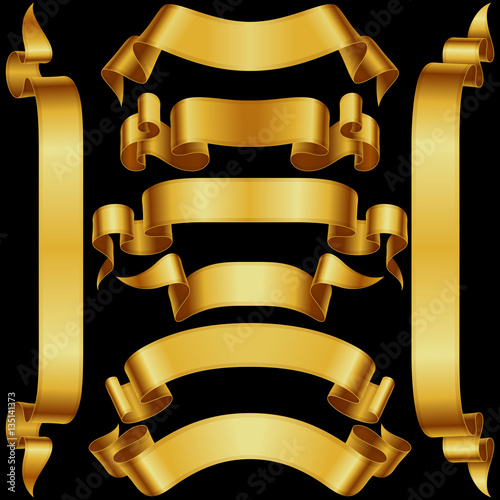996be1e4d6b Vector set of Vintage Banner Ribbon. Gold Shiny Scroll Frame Template  isolated of black background