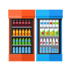 Two Showcases Refrigerators Drinks