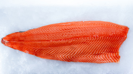 Fresh salmon fillet on ice