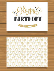 Happy Birthday Lettering greeting card and its reverse side with an abstract design.