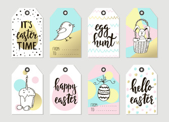 Set with Happy Easter gift tags and cards with calligraphy. Handwritten lettering. Hand drawn design elements.