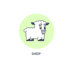 Geometric sheep line art vector icon isolated