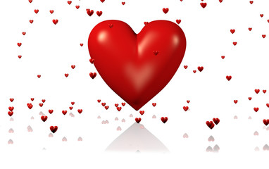One Big and Red Heart with Lots of Tiny Hearts