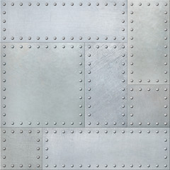 Wall Mural - Metal plates with rivets seamless background or texture