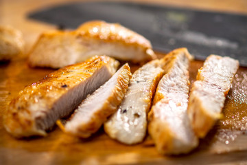 Grilled chicken breast cut into strips