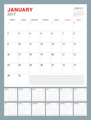 Calendar Template for 2017 Year. Week Starts Monday. Square Pages. Stationery Design. Vector Illustration