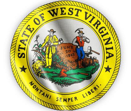 West Virginia seal waving flag close