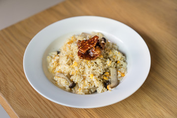 fried rice with mushrooms and egg and pork bulgogi