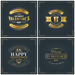Set of Happy Valentines Day Vintage Retro Golden Badges. Valentines Day Greeting Card or Poster. Vector Design Template with Dark Background