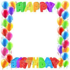 Happy Birthday Balloons Invite Border Frame