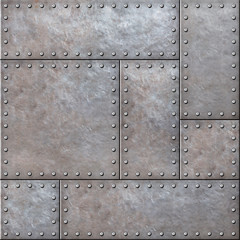 Wall Mural - Old rustic metal plates with rivets seamless background or texture