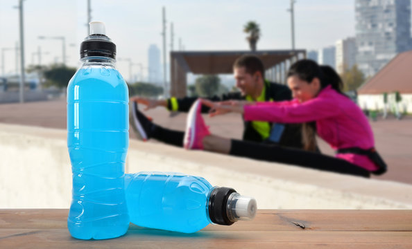 sports drink on wooden table