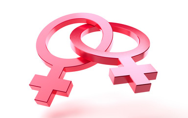 Pink lesbian symbols joined together isolated on white