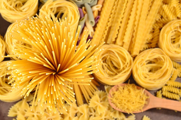 Assortment of uncooked Italian pasta