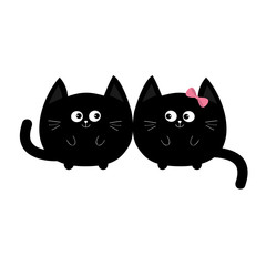 Round shape black cat icon. Love family couple. Boy Girl Cute funny cartoon smiling character. Kawaii animal. Happy emotion. Kitty kitten Baby pet collection. White background. Isolated. Flat design.