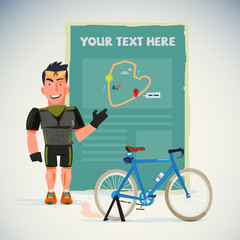 Strong bicycle man with present board. Map introduction. Character design - vector illustration