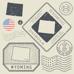 Retro vintage postage stamps set Wyoming, United States
