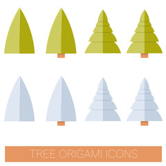 Set of flat origame tree icons
